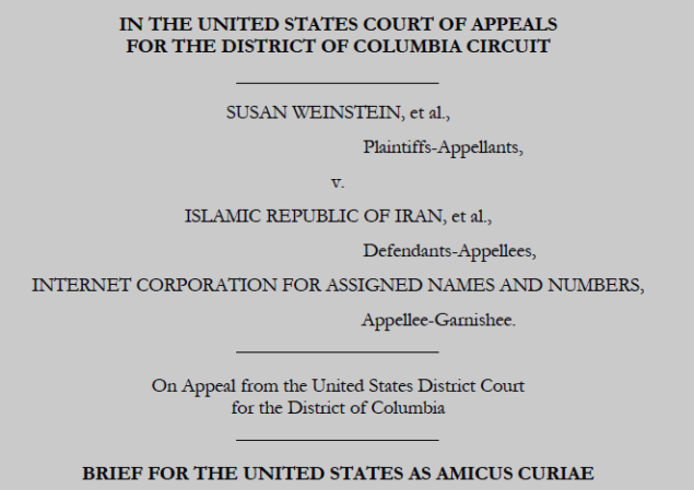 Screenshot from Weinstein et al v Iran et al - U.S. Amicus Curiae Brief filed in DC Circuit Court of Appeals