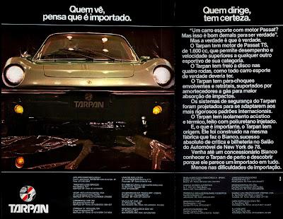 propagandaTarpan - 1978 - com motor Passat.  reclame de carros anos 70. brazilian advertising cars in the 70. os anos 70. história da década de 70; Brazil in the 70s; propaganda carros anos 70; Oswaldo Hernandez;