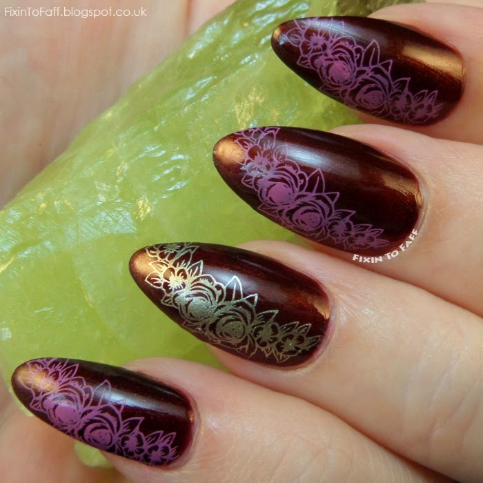 Floral stamping mani using bornprettystore stamping plate QA89.