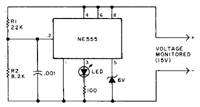 Under voltage Indicator for Battery Equipment Circuit Diagram