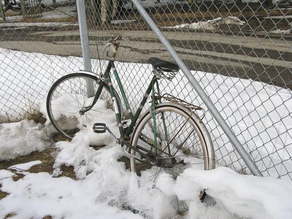 cykel i snö