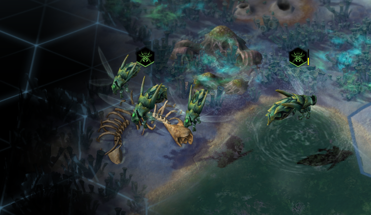 A group of Alien Drones hover near an Alien Nest.