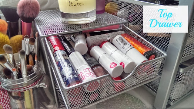 Top storage drawer for lipstick