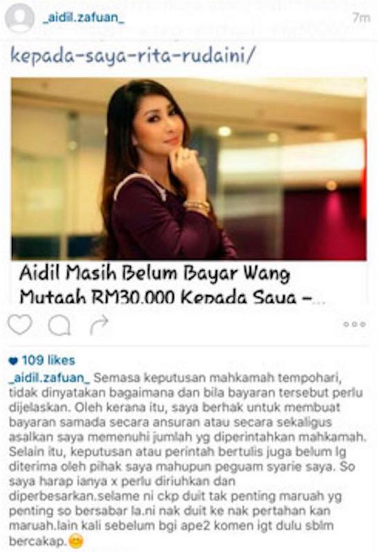 Aidil Zafuan Jawab Kenyataan Rita Rudaini Yang Belum Dapat Duit Mutaah