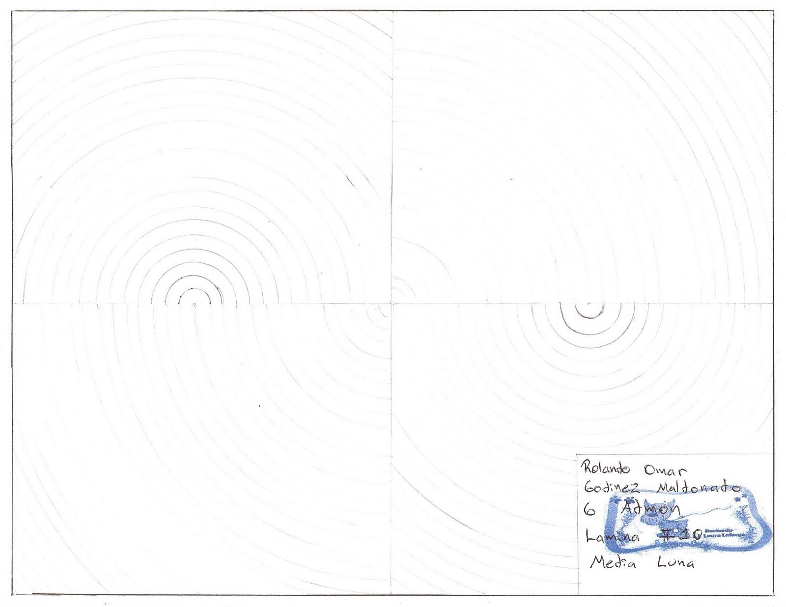 dibujo tecnico admon Lmina 10 Media Luna Con Regla y Compas