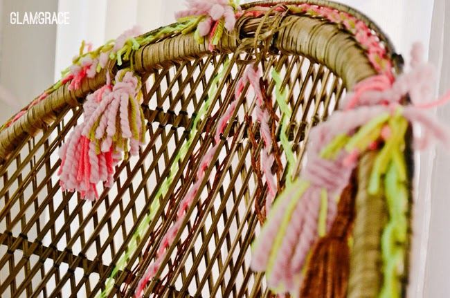 Vintage Rattan Chair makeover - yarn weaving