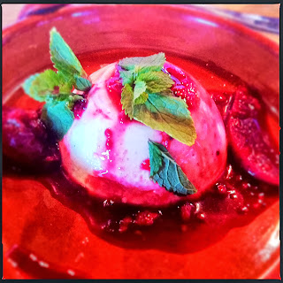 Panna cotta with seasonal fruit compote