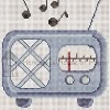retro radio cross stitch chart