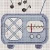 retro radio cross stitch chart