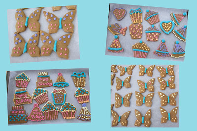 decorated gingerbread cookies, butterflies, party cake
