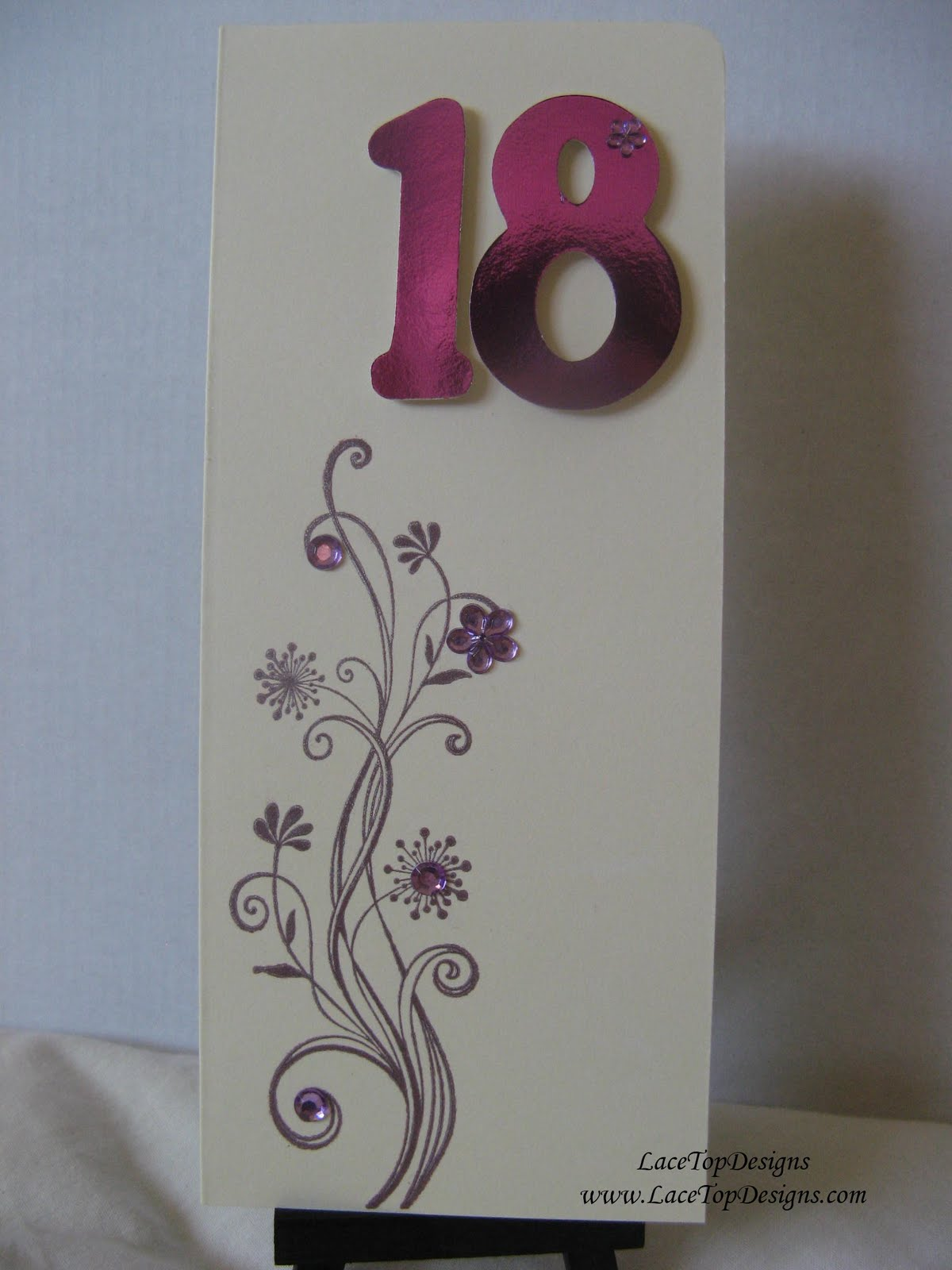 LaceTopDesigns Girly 18th Birthday Card using Making Memories slice – 18th Birthday Card Ideas