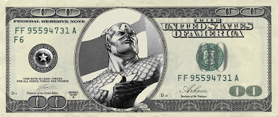 one hundred dollar bill with a picture of captain America in place of Benjamin Franklin