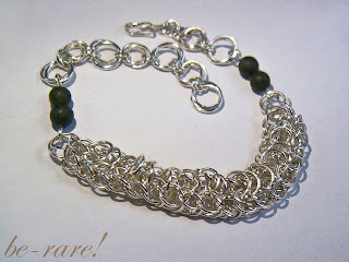 bansoletka chainmaille z agatami