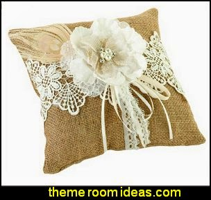 Burlap and Lace Ring Pillow