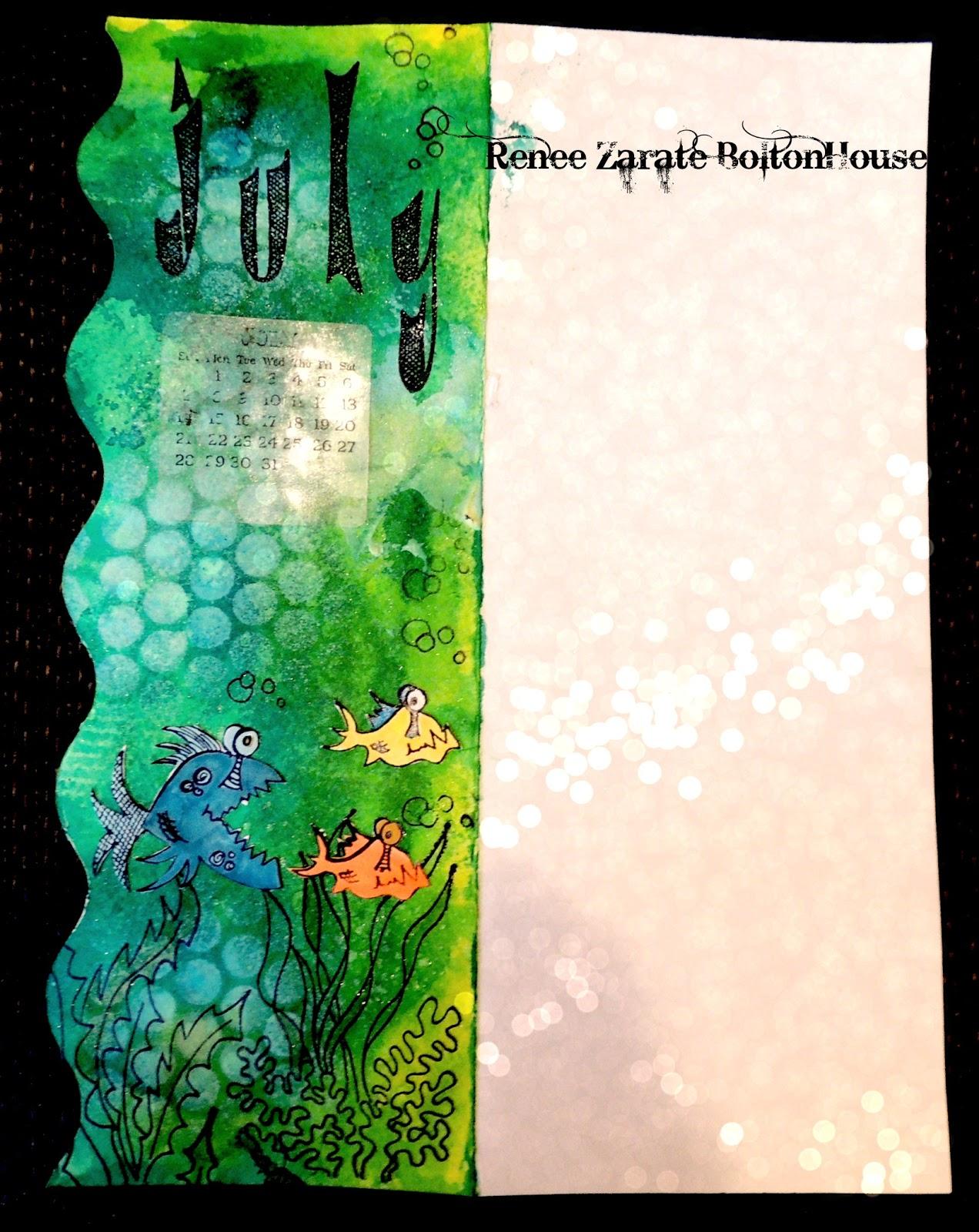 Art Journal Calendar Pages : Bolton house art journal calendar page for july
