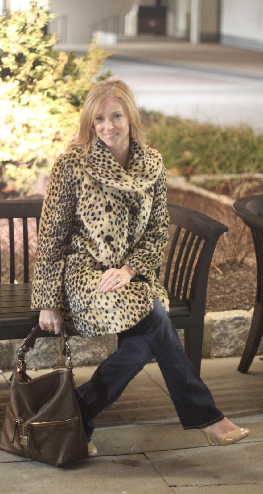 Banana Republic, chic mom, Citizens of Humanity, cold night out, Dooney Bourke, faux fur coat, Forever 21, leopard print, LosPhoto, Nine West, Simply Lulu Design, Simply Lulu Style,