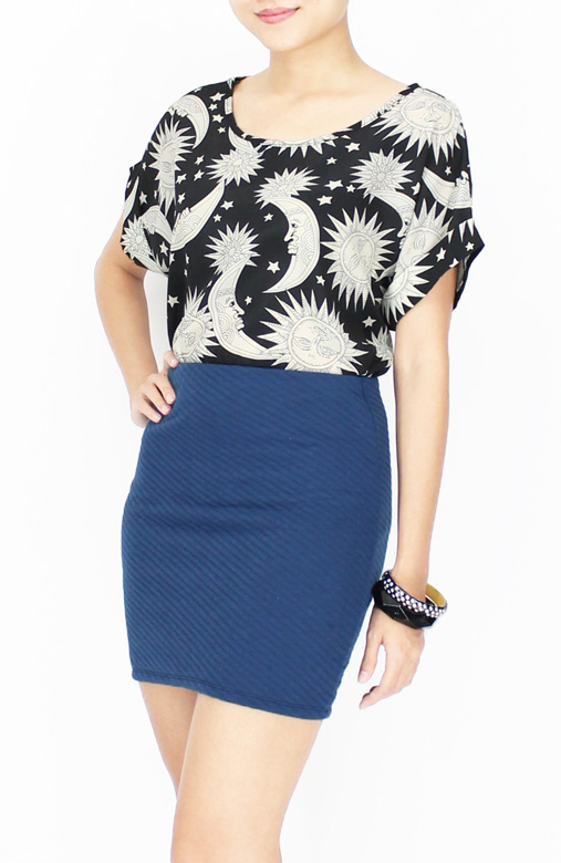 Textured Mini Tube Skirt in Cerulean Blue