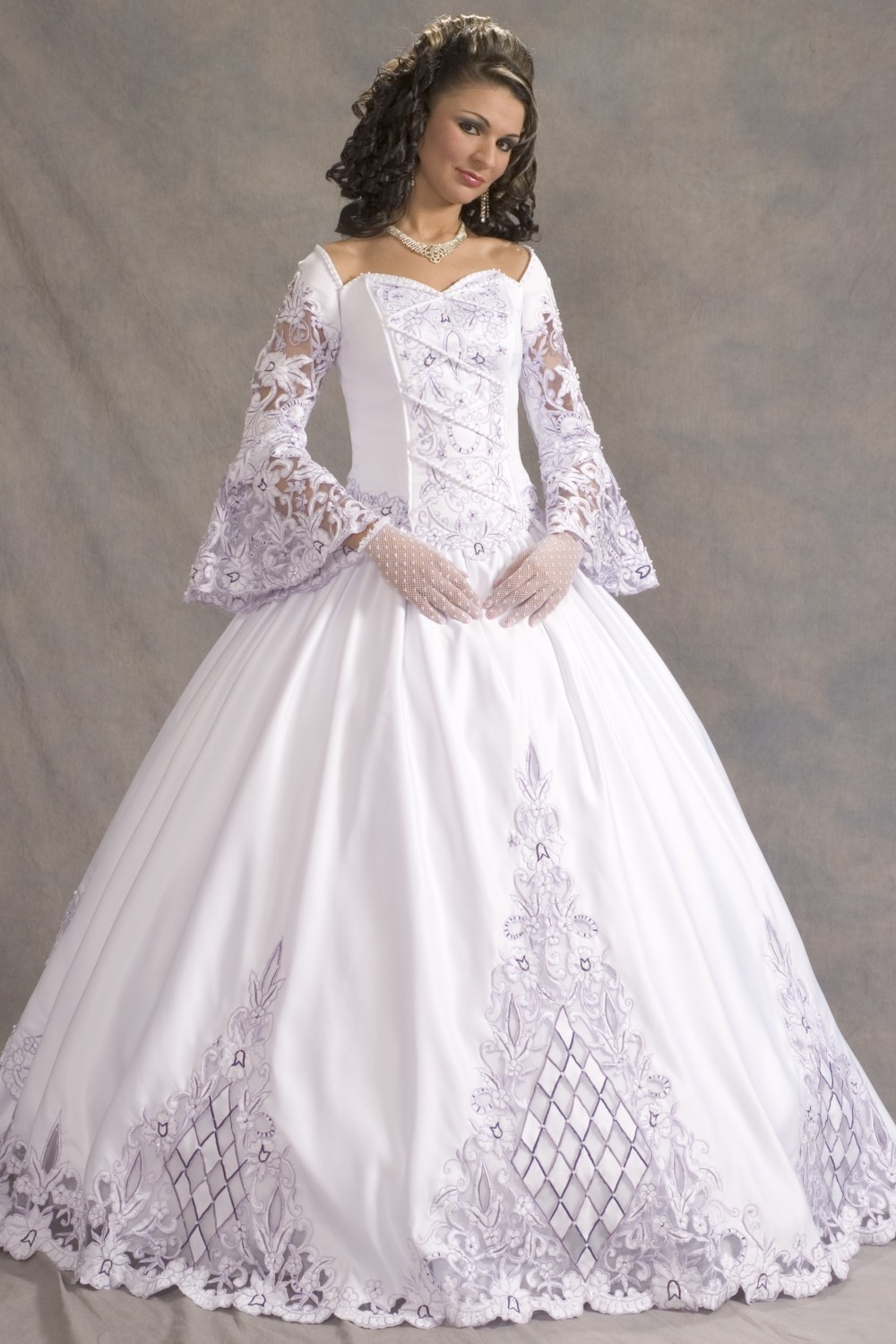 Ball Gown Wedding Dresses With Long Sleeves : Royal lace long trumpet sleeves ball gown wedding dress g