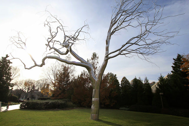 A look alike tree,  made of steel can be seen outside of National Gallery of Art in Washington DC, USA