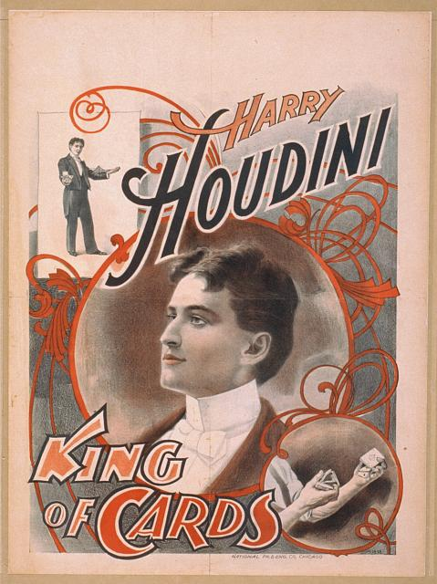 circus, classic posters, free download, graphic design, magic, movies, retro prints, theater, vintage, vintage posters, Harry Houdini, King of Cards - Vintage Magic Poster