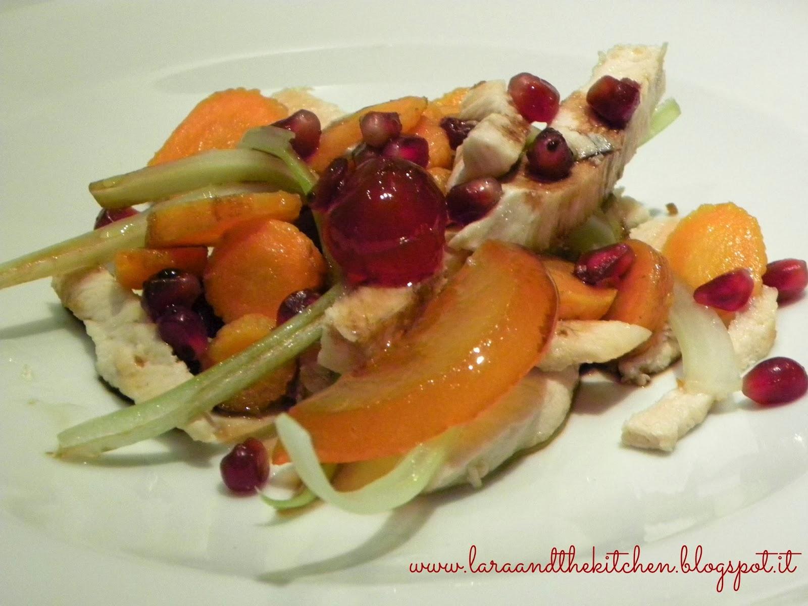 insalata di pollo, melograno e aceto balsamico di modena igp