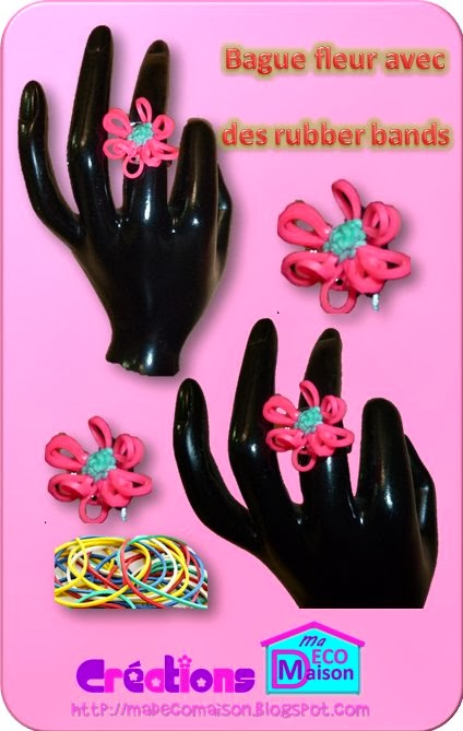 Bague fleur faite avec des rubber bands