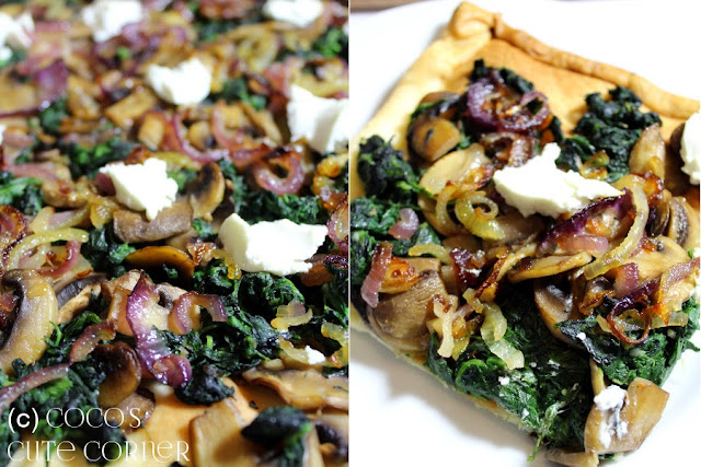 Tart with Mushrooms, Spinach and Goat Cheese