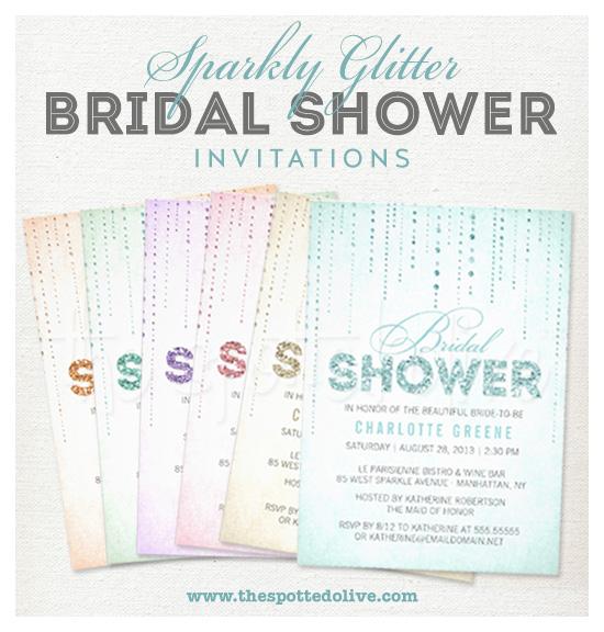 Sparkly Glitter Bridal Shower Invitations