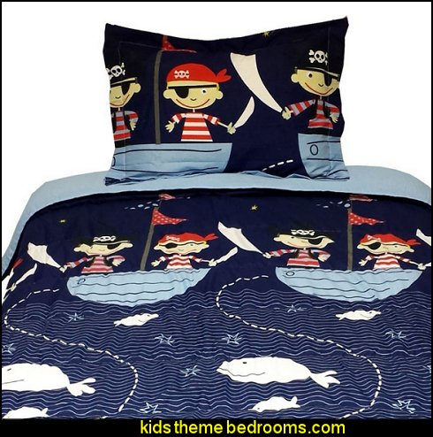 Boy Blue Red Pirate Down Alternative Full Comforter Set