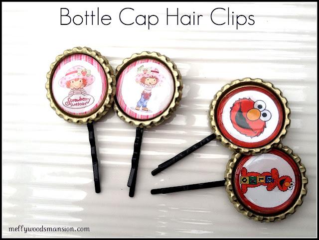 Bottle Cap Hair Clips