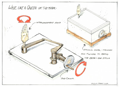 ammon perry illustration of a machine that makes a hand wave like the queen for Today's The Day Harrisburg