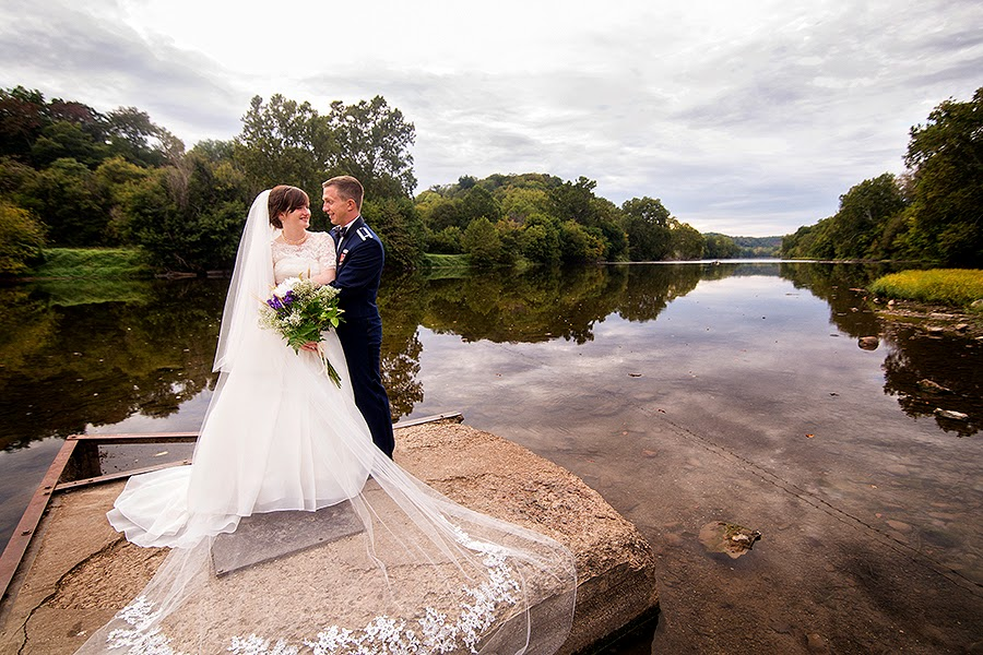 bride and groom on the Shenandoah River