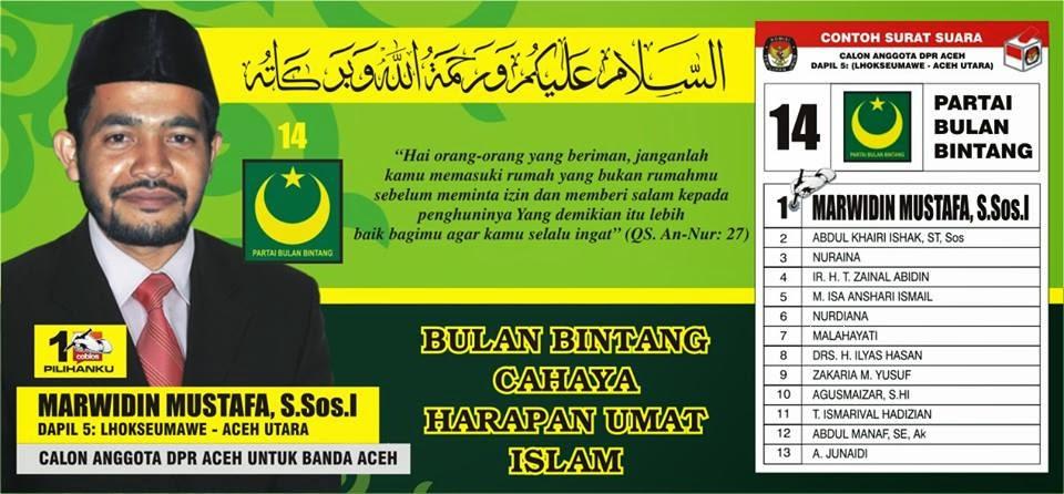 Calon Anggota DPR Aceh Nomor Urut 1. Pemilu Legislatif 2014 DaPil-5 ; Lhokseumawe & Aceh Utara