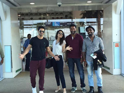 Shraddha Kapoor,Varun Dhawan, Remo D'souza and Prabhudeva! at Hyderabad airport