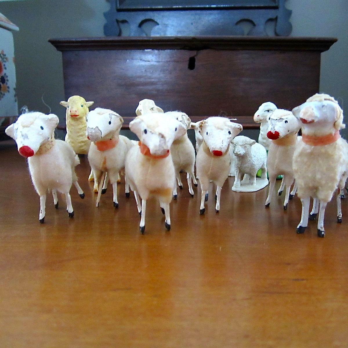 stick leg sheep flock