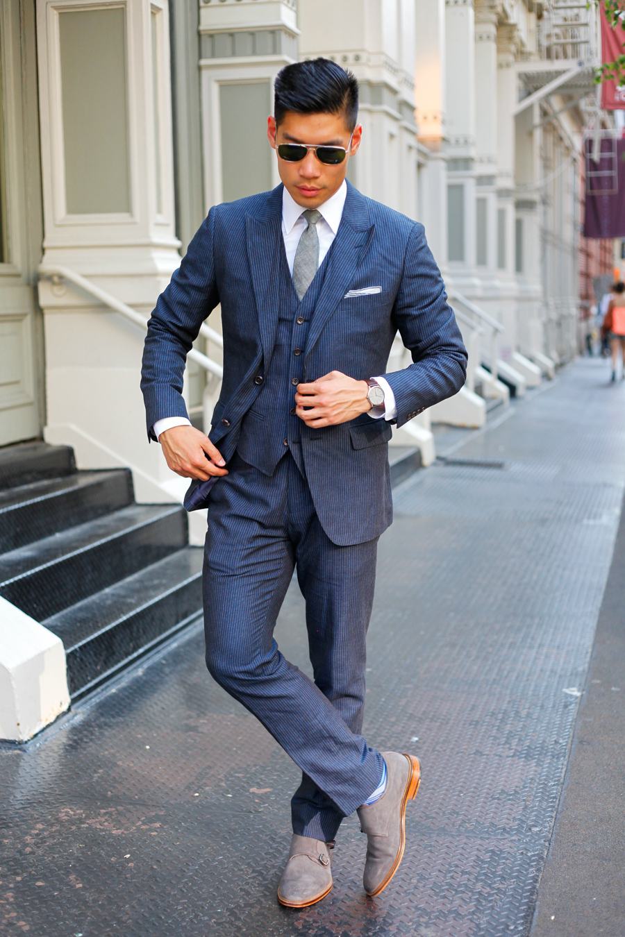 Levitate Style - Pinstripe Two Ways | Bonobos Navy Pinstripe Three Piece Cotton Suit Dressed Up & Dressed Down, Banana Republic Double Monk Strap, Jack Purcell Converse White Sneakers