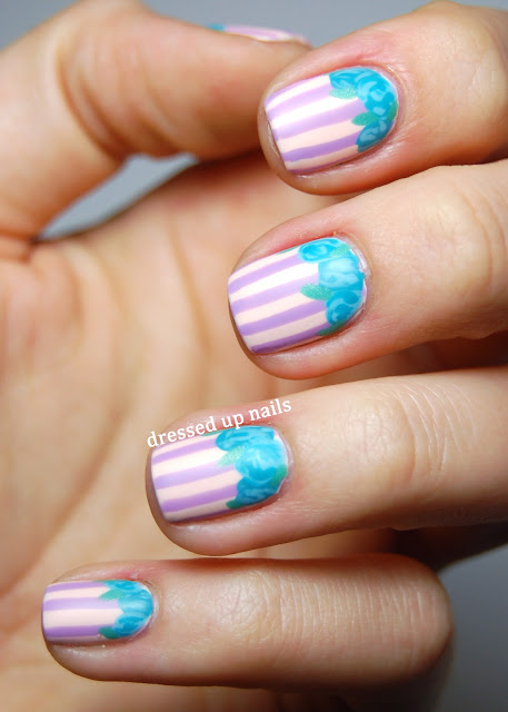 Dressed Up Nails - matte stripes with roses, spring/Easter nail art