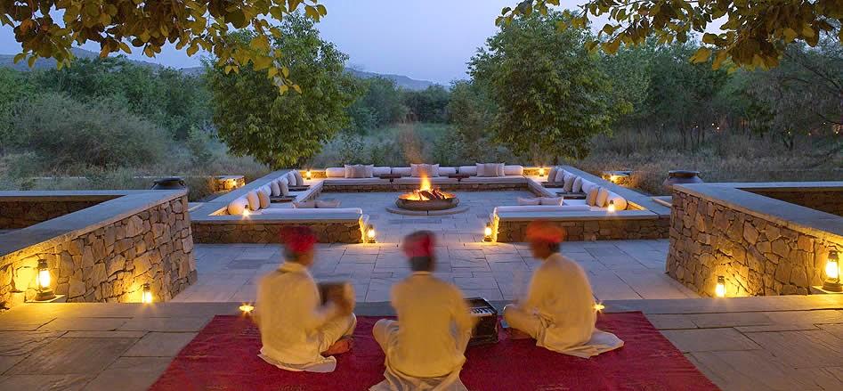 Outdoor Fireplace, Aman i Khas, Ranthambore