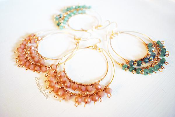 Beads and wires orecchini cerchio verde
