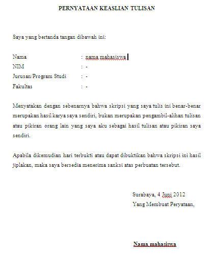 contoh halaman pernyataan keaslian skripsi