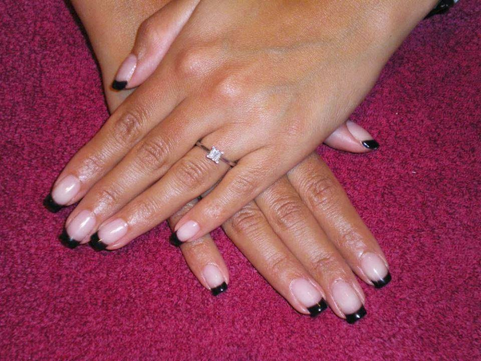 Acrylic Sculpt black french shellac manicure simple nail art