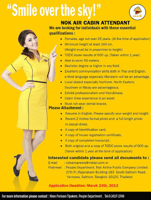 Nok Air has raised eyebrows with its latest recruitment advert for flight attendants