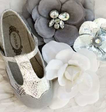 Joyfolie Luna silver t-strap kid shoes