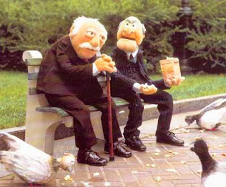 Funny Statler and Waldorf Sitting on a bench joke