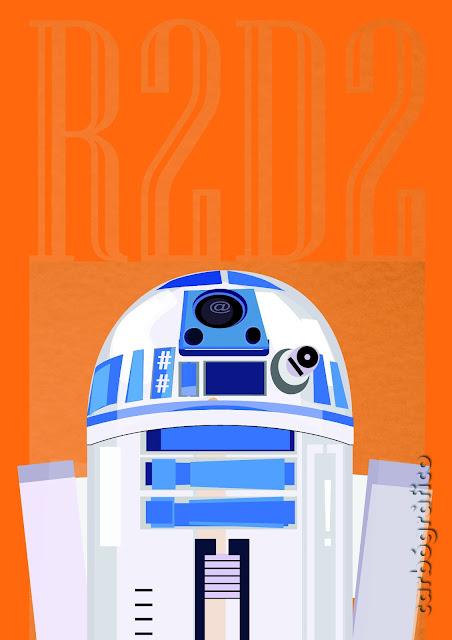 ilustracion con tipografias_R2D2_carbografico