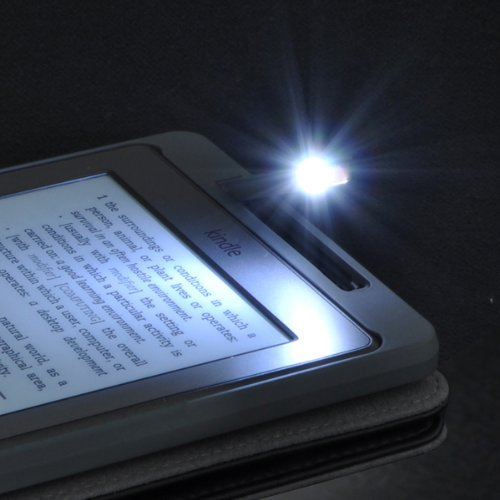 Kindle 4 Book Cover Case With Built In Led Light Black