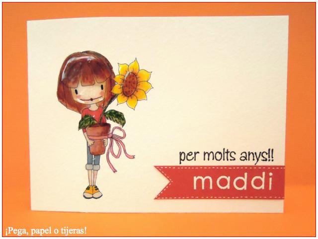 Pega papel o tijeras: Tarjeta para Maddi