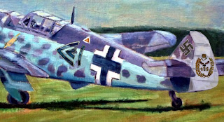 Pintura al öleo de un bf-109 de la luftwaffe extracto