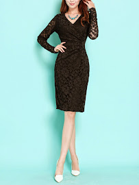 Long Sleeve V-Neck Full Lace Black Dress