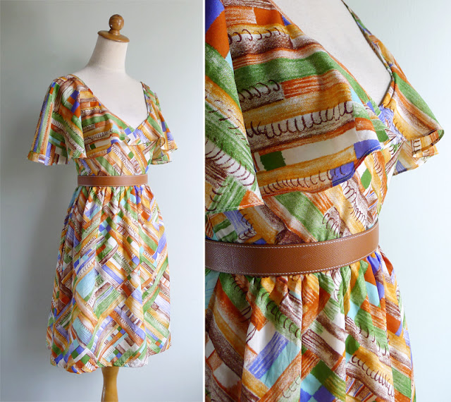 vintage novelty book print cape dress